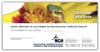 """Gutschein Mitgliedschaft Motiv 2 """"Frosch"""""""