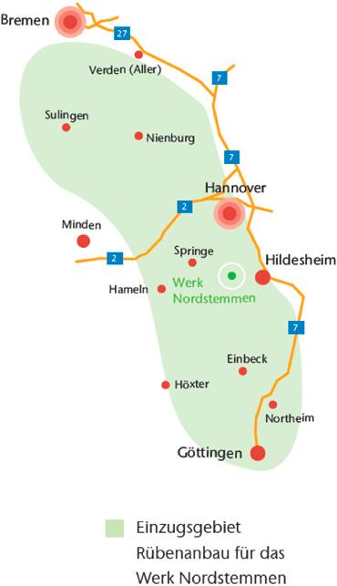 Einzugsgebiet Rübenanbau für das Werk Nordstemmen. Grafik: Nordzucker.